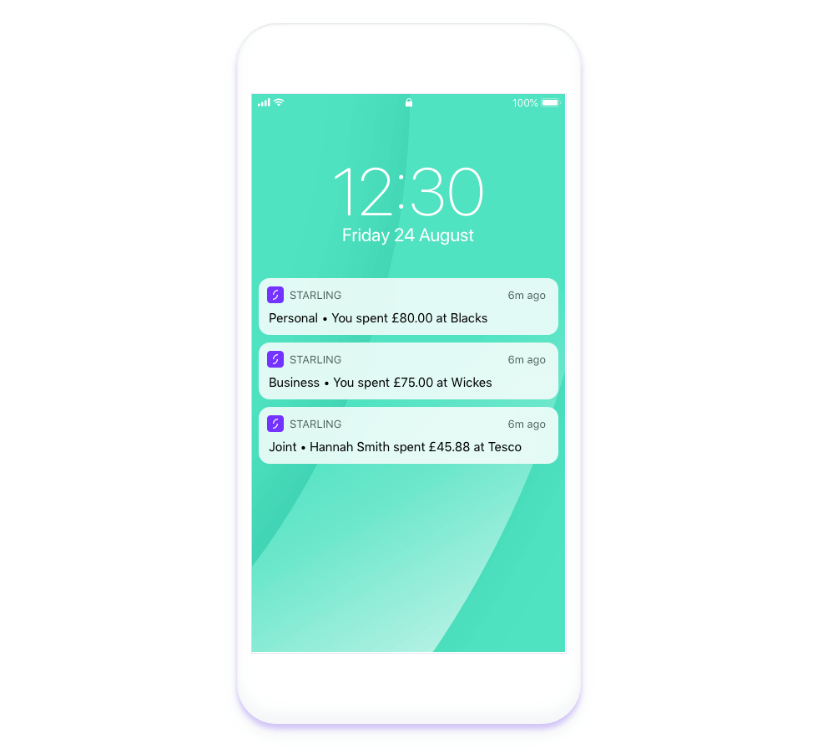 Starling Bank screenshots of instant alerts