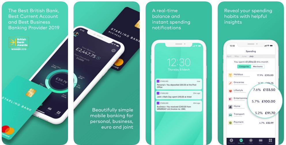 Starling bank app screenshots and examples