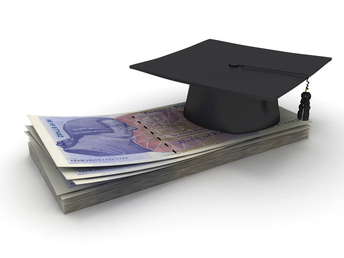 Graduate cap above cash