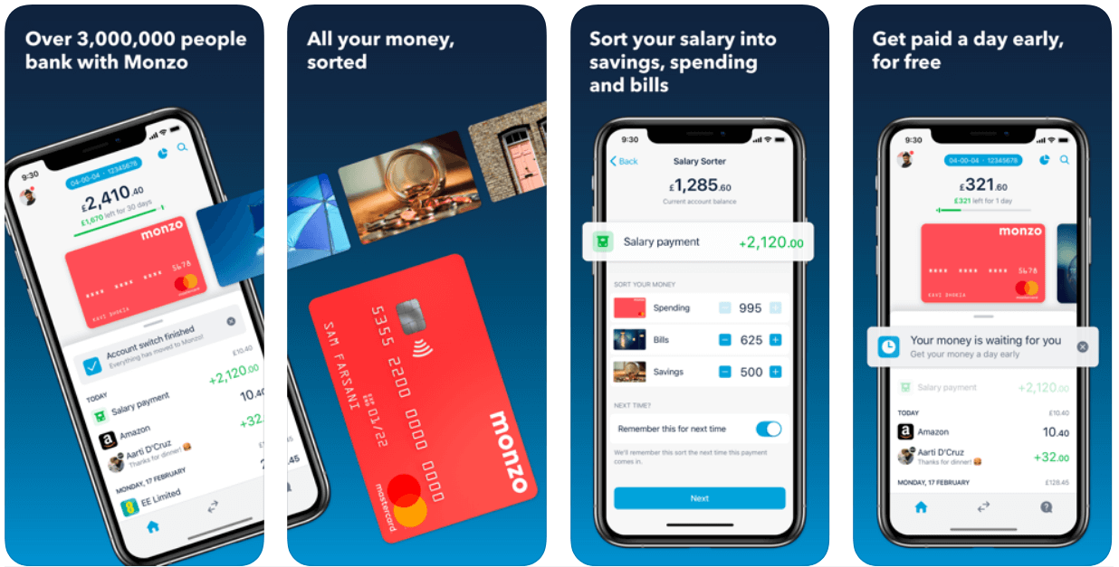Screenshots of the Monzo app