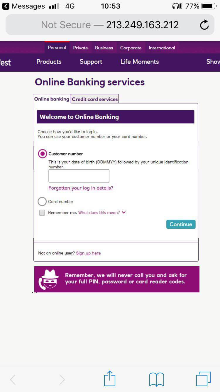 NatWest scam message