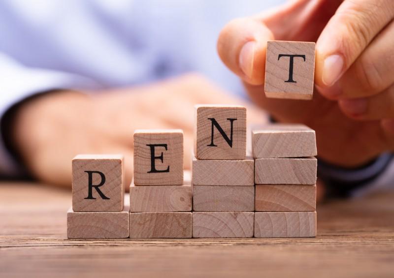 Alphabet blocks spelling rent