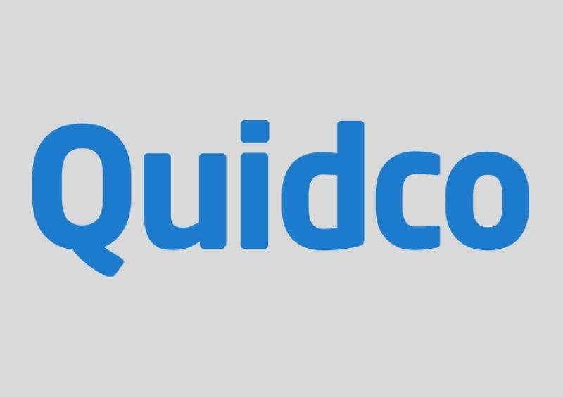 Blue Quidco logo with Grey background