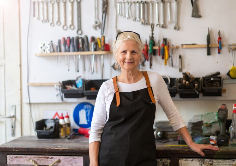 Business woman in her workshop