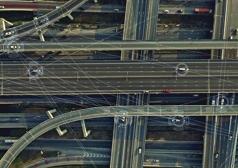 Car surveillance overlooking cars on motorway