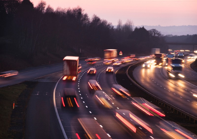 Cars on motorway at dusk
