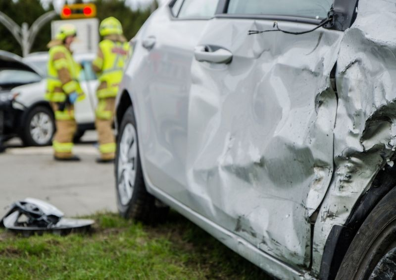 Close up of a damaged car after accident