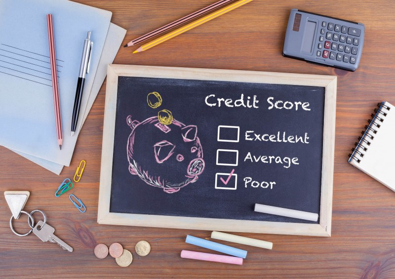 credit score on chalk board