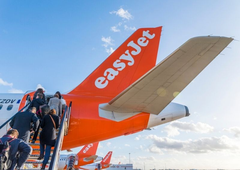 Easyjet customers boarding plane