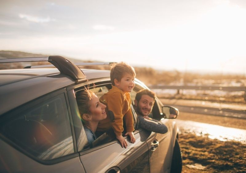 Family looking out of their car at the countryside