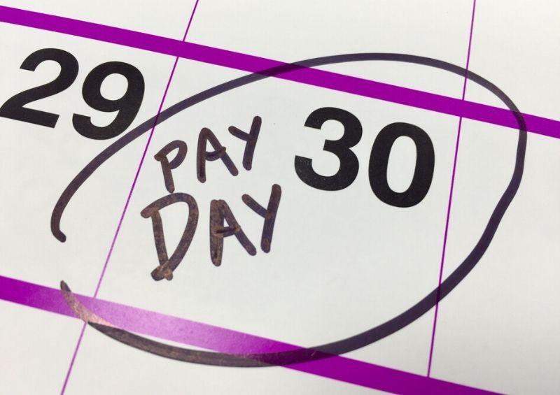 Monzo early pay day calendar