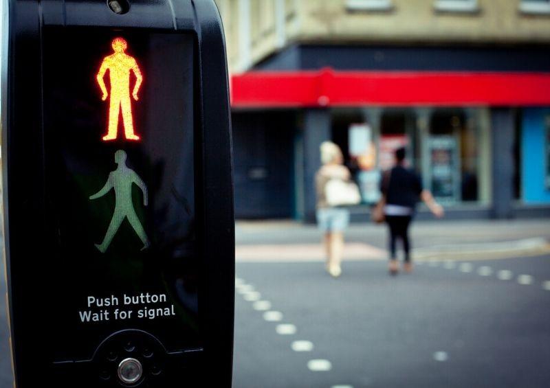 Pedestrians crossing a road