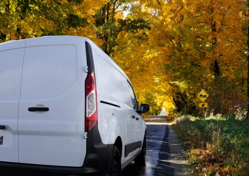 van on the road