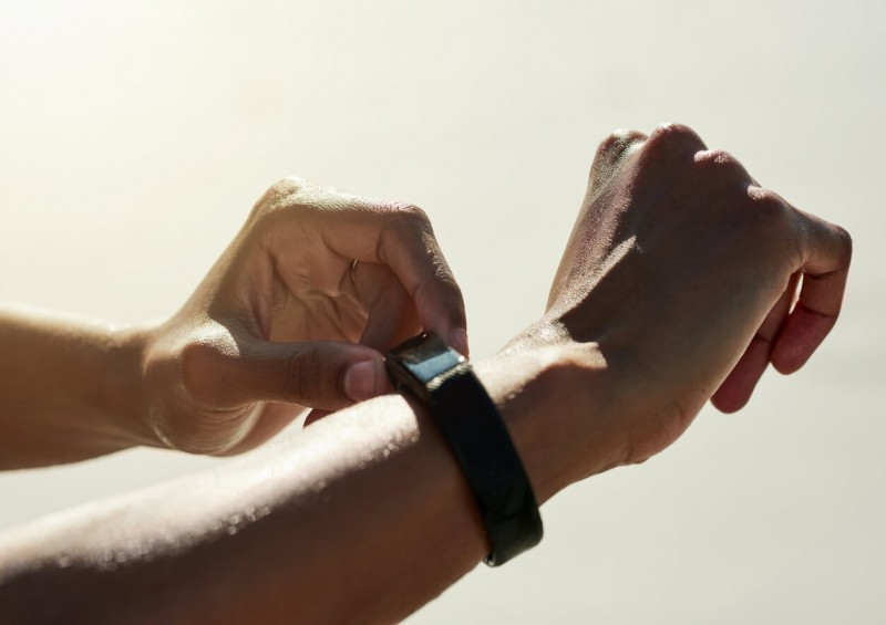 Wrist with fitness tracking device