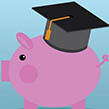 Animated pig with graduate cap