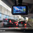 Dash cam on the windscreen of a car