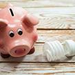 Piggy bank next to light bulb
