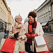 Two ladies Christmas shopping together